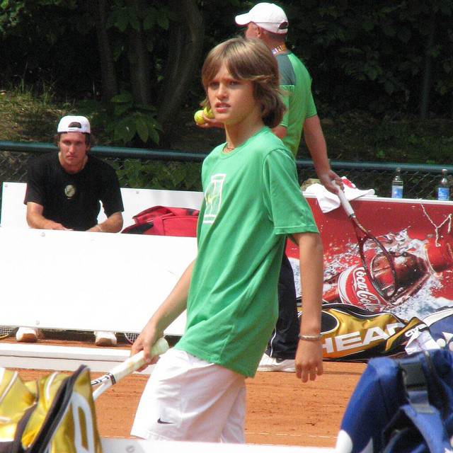 Then and now: Alexander Zverev as a kid on a tennis court