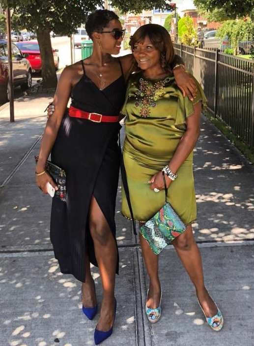 Lashana Lynch with her mother