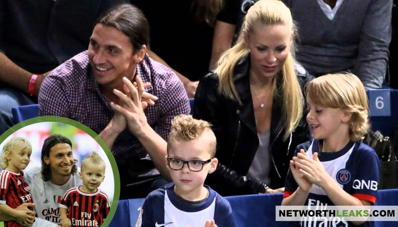 Zlatan Ibrahimovic's wife and two kids (sons Maximilian and Vincent)