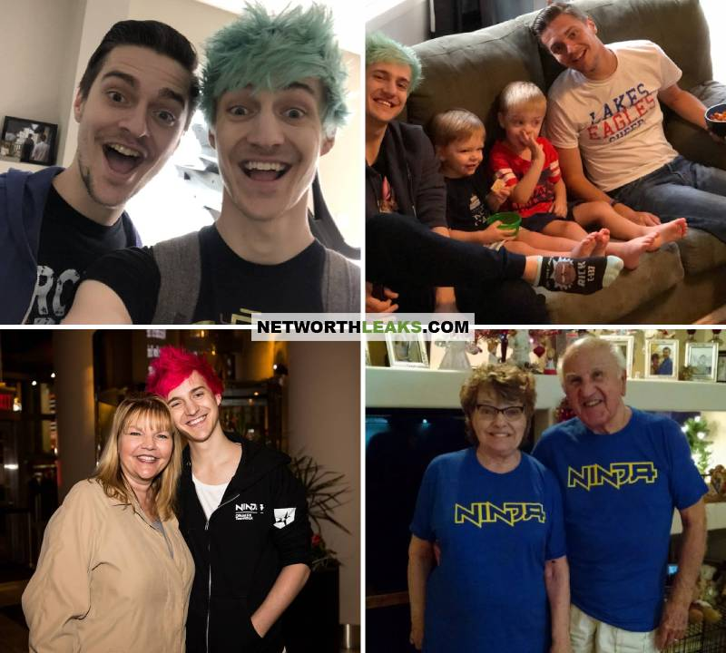 Ninja (Tyler Blevins) with his family: Brother, nephews, mother, grandparents