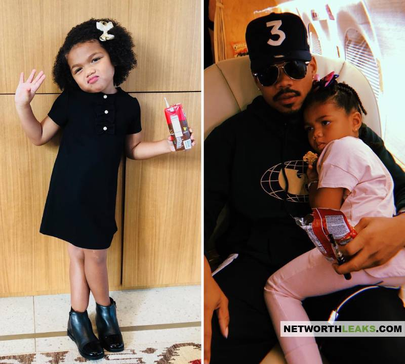 Chance The Rapper with his daughter Kensli Bennett
