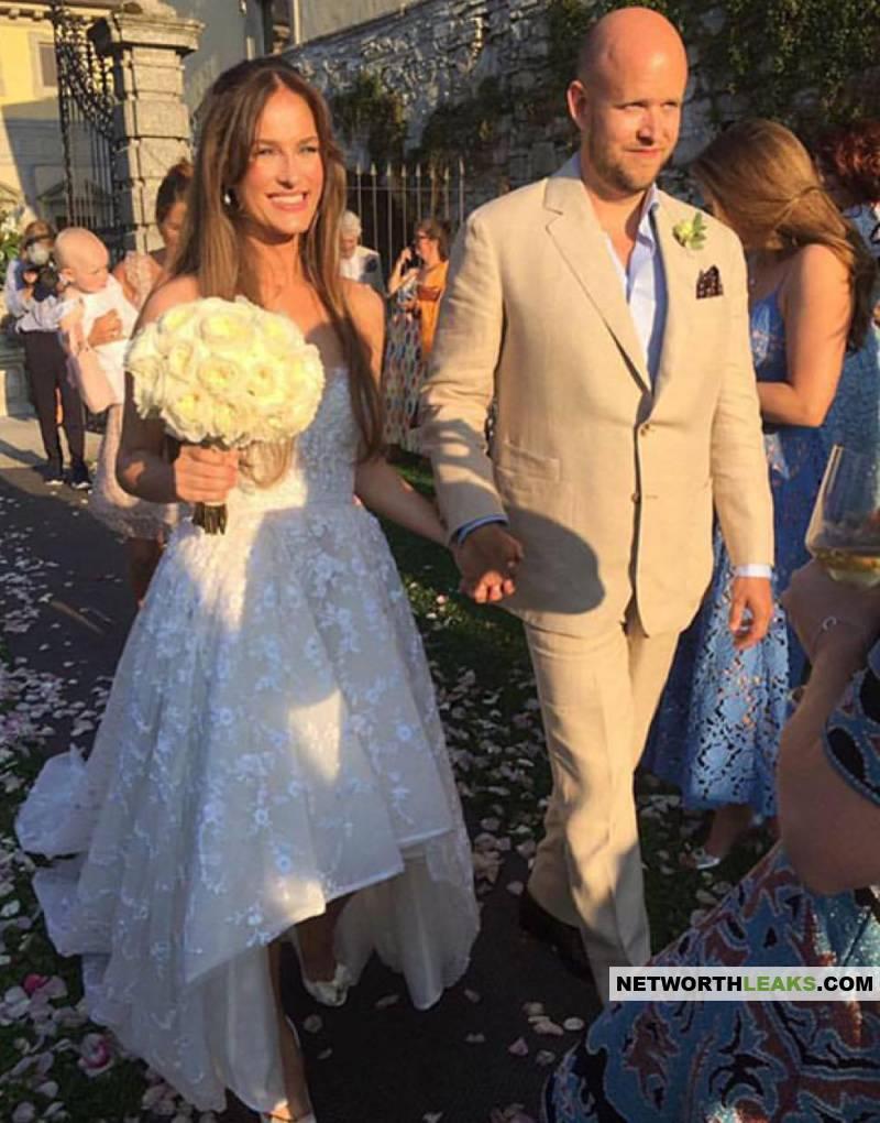 Daniel Ek with his wife Sofia Levander on their wedding