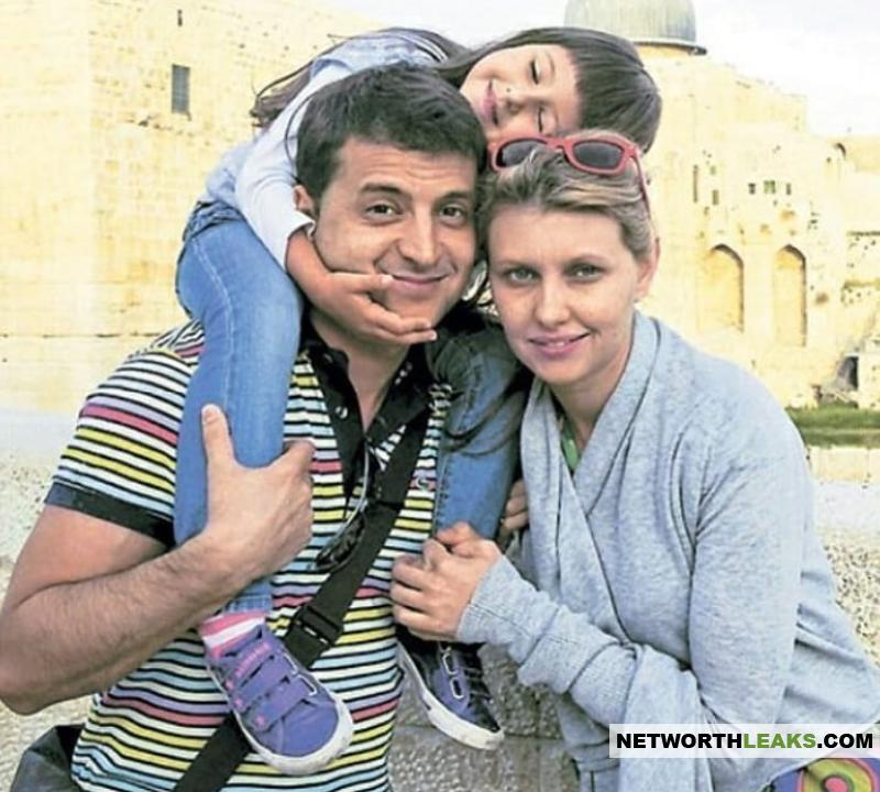 Volodymyr Zelensky with his wife Yelena Zelenskaya and their daughter