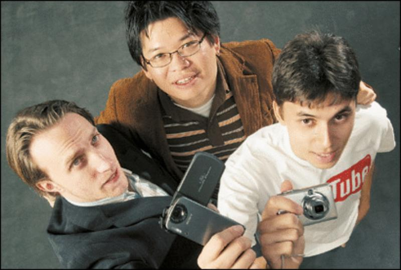 Jawed Karim with his friends and co-founders of YouTube, Chad Hurley and Steve Chen